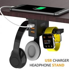 Headphone Stand with USB Charger COZOO Under Desk Headset Holder